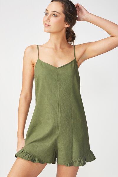 Woven Lily Strappy Frill Playsuit, SOFT KHAKI