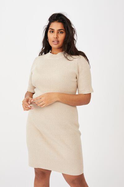 Curve Tahlia True Knit Mini Dress, NATURAL MARLE