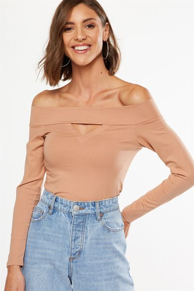 Hady Off The Shoulder Long Sleeve Top, ASH BROWN