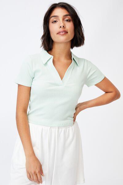 Zoe Short Sleeve Polo, SPRING MINT