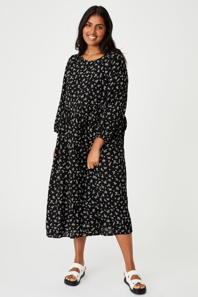Curve Good Times Babydoll 3/4 Sleeve Maxi Dress, RIDDLE DITSY BLACK