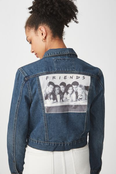 Friends Girlfriend Denim Jacket, WASHED MID BLUE