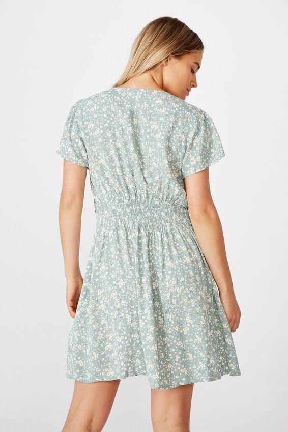 Woven Marissa Gathered Front Mini Dress, PHOENIX DITSY JADE
