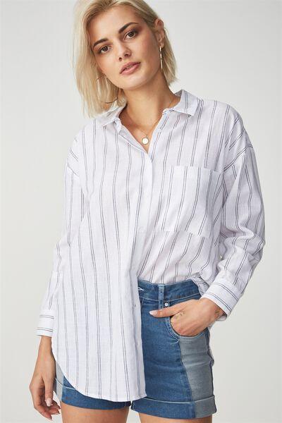 Millie Shirt, ALBA VERTICAL STRIPE WHITE