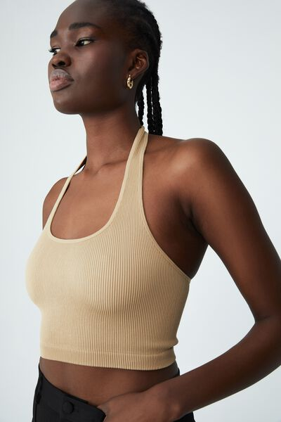 Seamless Stacey Halter Neck Top, LINEN TAUPE