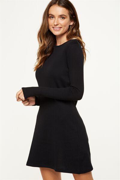 Tina Long Sleeve Tshirt Dress, BLACK