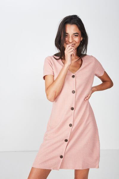 Marlow Button Through Mini Dress, ROSE TAN