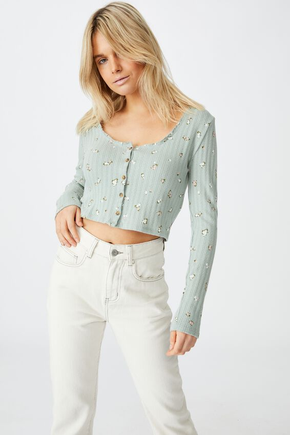 Perry Pointelle Button Through Cardi, WILLOW DITSY CHINOIS GREEN