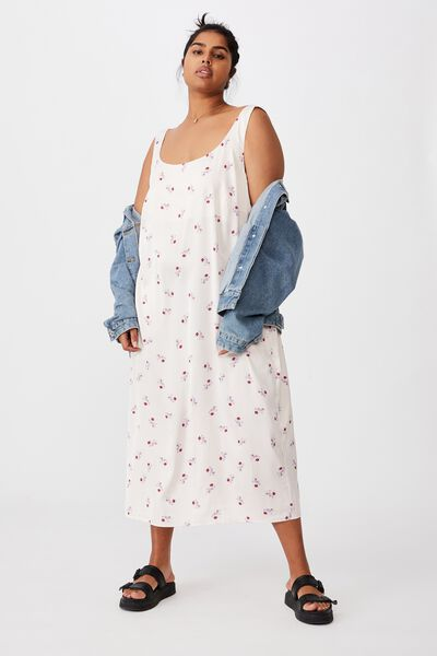 Curve Woven Maggie Slip Midi Dress, ARABELLA FLORAL WINTER SOFT PINK