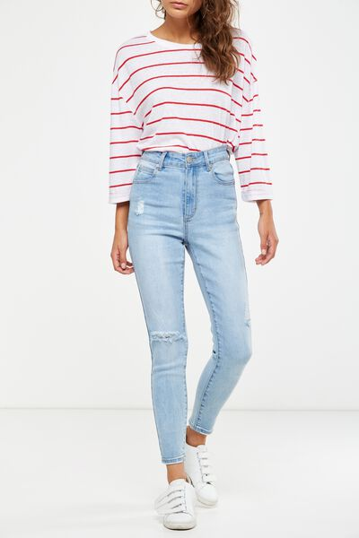 High Rise Grazer Skinny Jean, ALLEY LIGHT BLUE RIPS