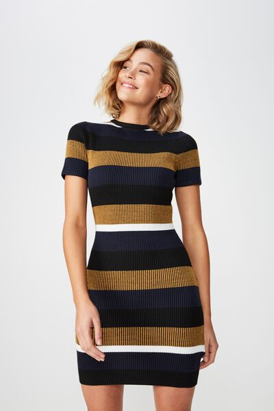 7d006b67bc1d Lottie True Knit Mini Dress, LOTTIE MULTI STRIPE BRIGHT GOLD. Cotton On  Women