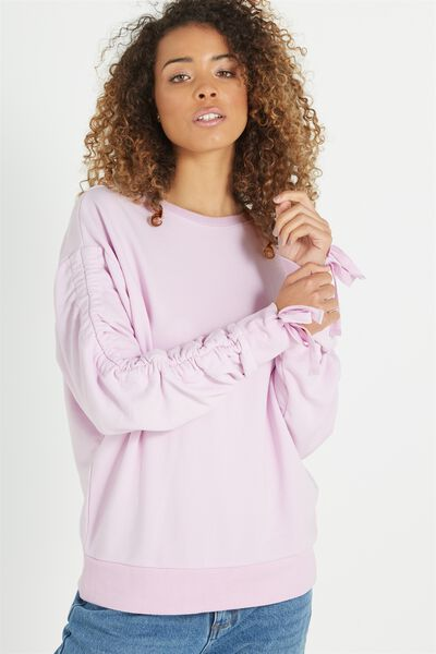 Jade Rouched Sleeve Sweater, LIGHT LAVENDER