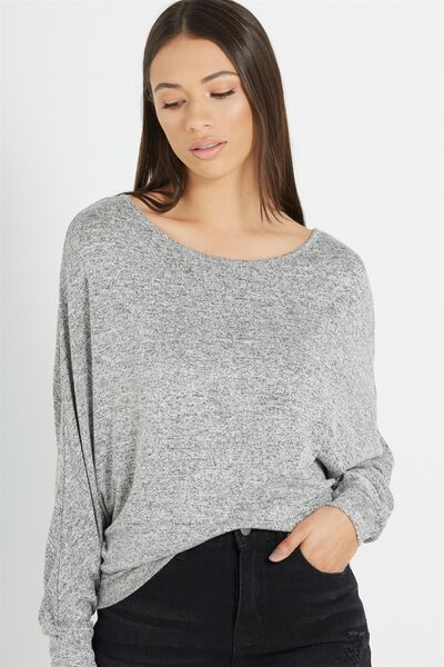 Nikita Soft Touch Long Sleeve Top, WHITE/GREY MARLE SOFT TOUCH