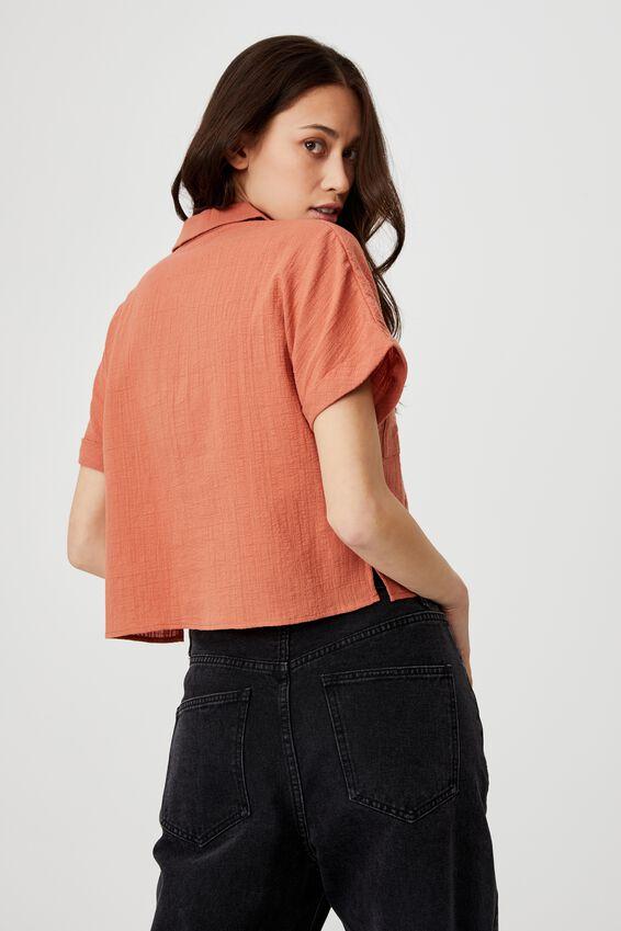 Erika Short Sleeve Shirt, EARTHY RED