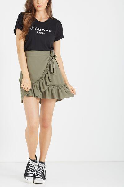 Woven Thea Wrap Mini Skirt, KHAKI