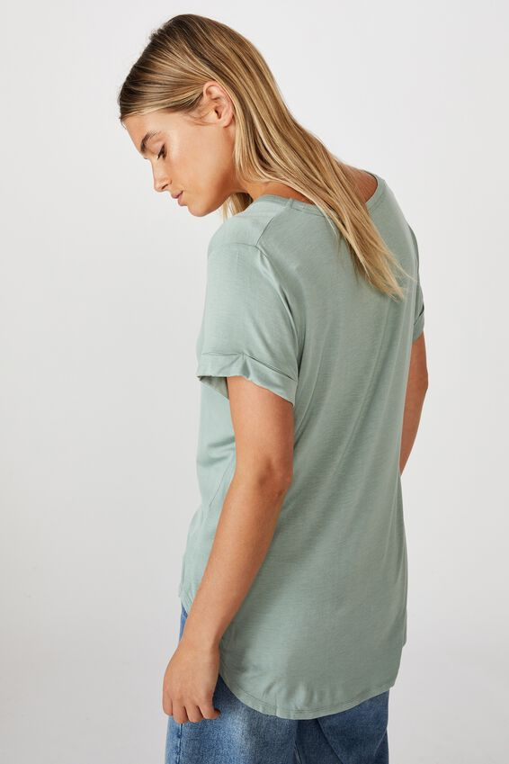 Karly Short Sleeve V Neck Top, JADE