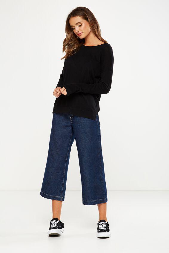 Everyday 2 Fine Gauge Pullover, BLACK