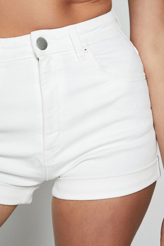 High Rise Classic Stretch Denim Short, VINTAGE WHITE