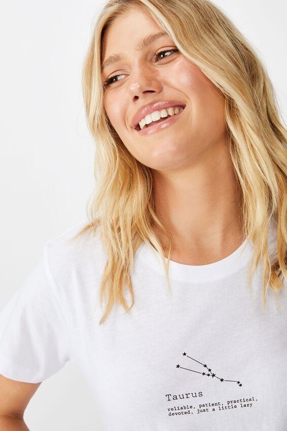 Classic Astrology T Shirt, TAURUS/WHITE