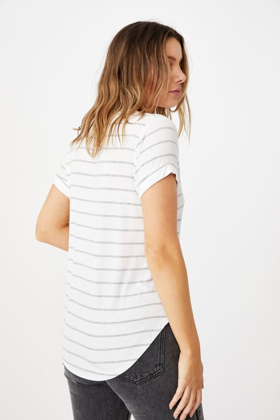 Karly Short Sleeve V Neck Top, ZOE STRIPE WHITE/GREY MARLE