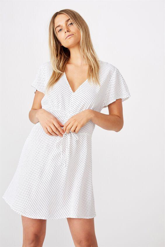 Woven Marissa Gathered Front Mini Dress, TIFFANY SPOT WHITE