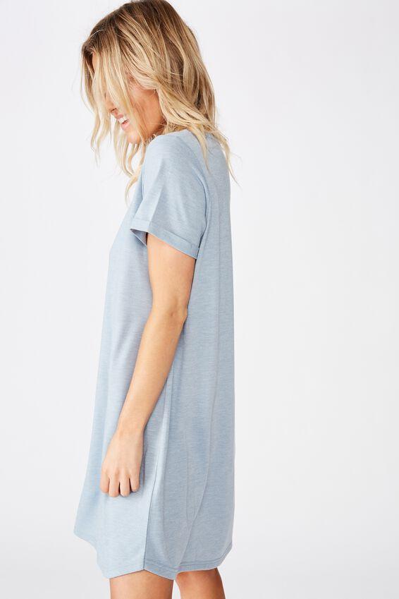 Tina Tshirt Dress 2, FADED BLUE MARLE