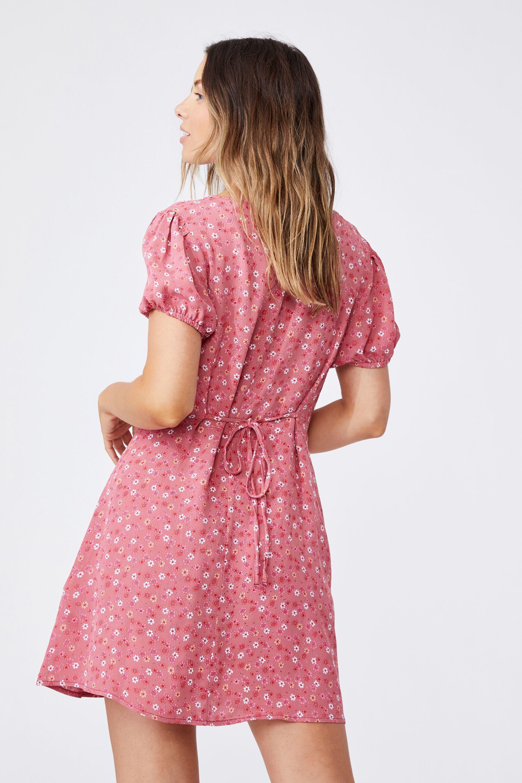 Woven Essential Tie Back Mini Tea Dress | Cotton On