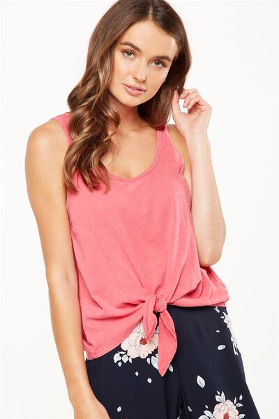 Neema Tie Front Tank, WASHED BURNT PINK
