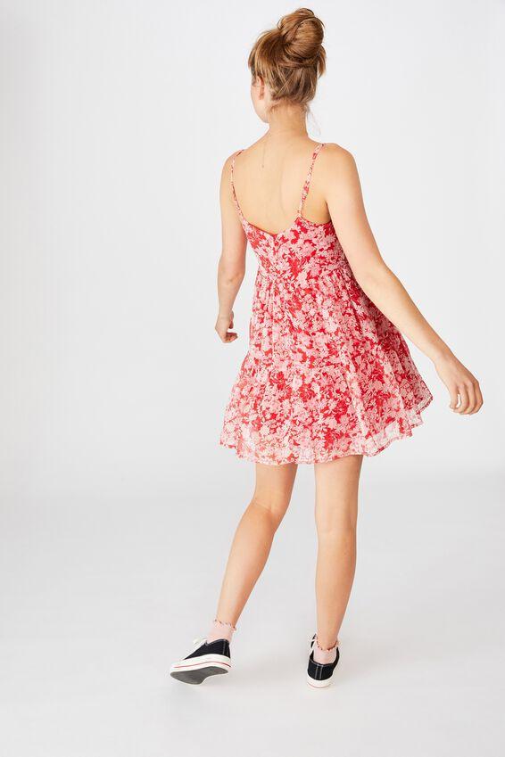 Woven Jordy Ruffle Mini Dress, JULIA FLORAL GOJI BERRY