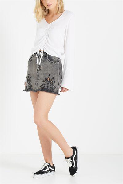 A Line Cutwork Mini Denim Skirt, BLACK