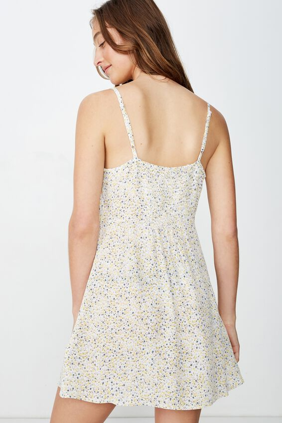 Woven Kendall Mini Dress, HELENA DISTY CANNOLI CREAM