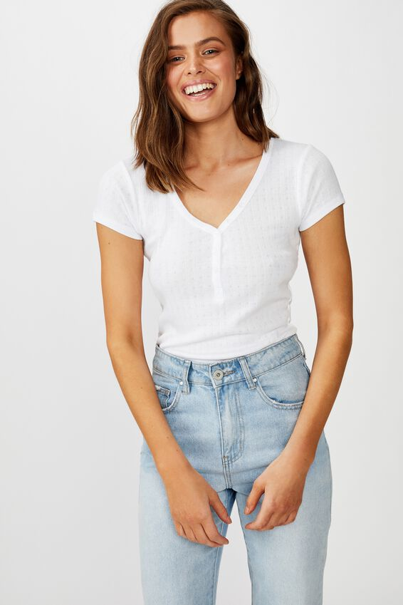 Polly Button Front Short Sleeve Top, WHITE