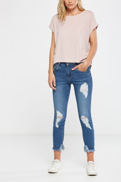 Mid Rise Grazer Skinny Jean 2, VINTAGE BLUE CHEWED HEM