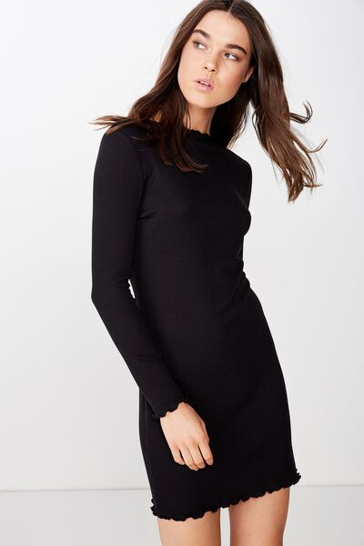 Grace High Neck Long Sleeve Mini Dress, BLACK RIB