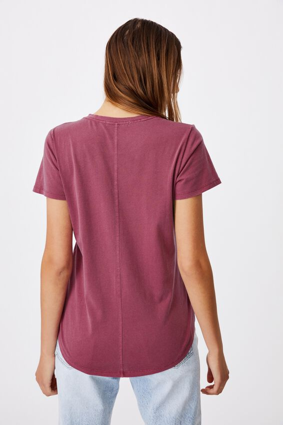 The One Crew Tee, WASHED DARK GRAPE