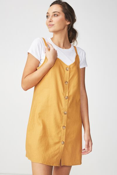 Woven Margot Slip Dress, BUTTON THROUGH SPRUCE YELLOW