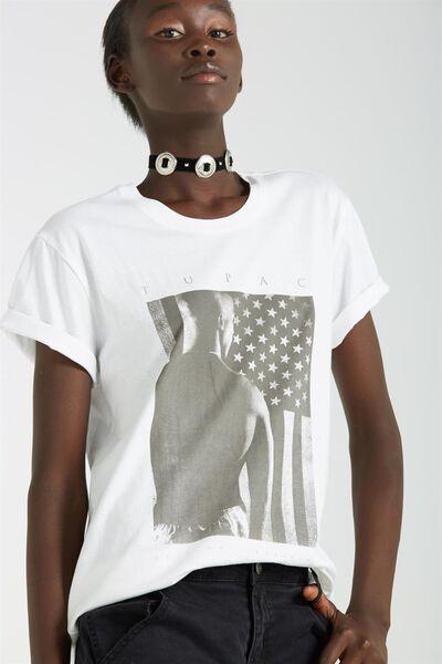 Tbar Fox Graphic T Shirt, LCN TUPAC FLAG/WHITE