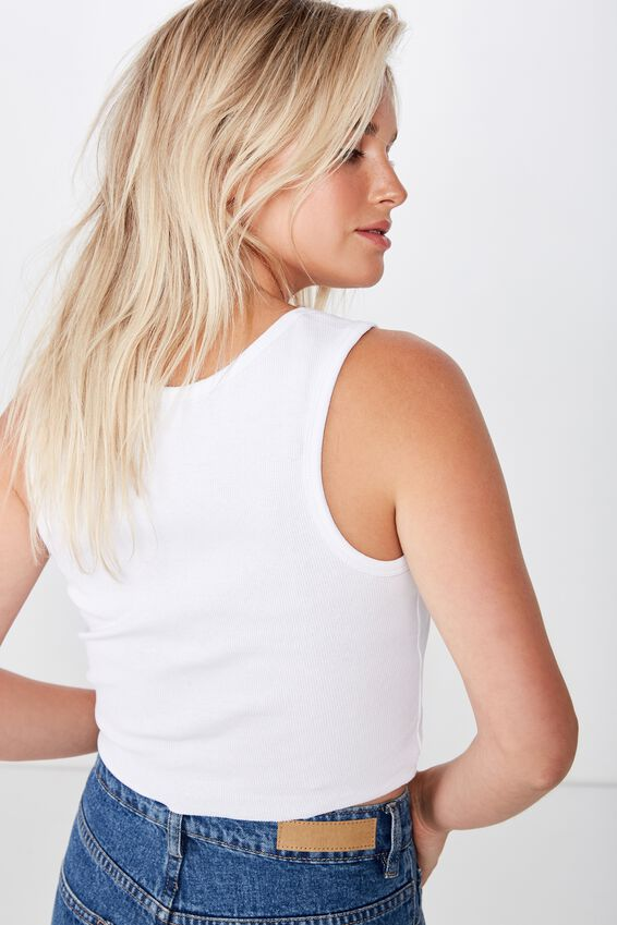 The Sister Crop Tank, WHITE 2