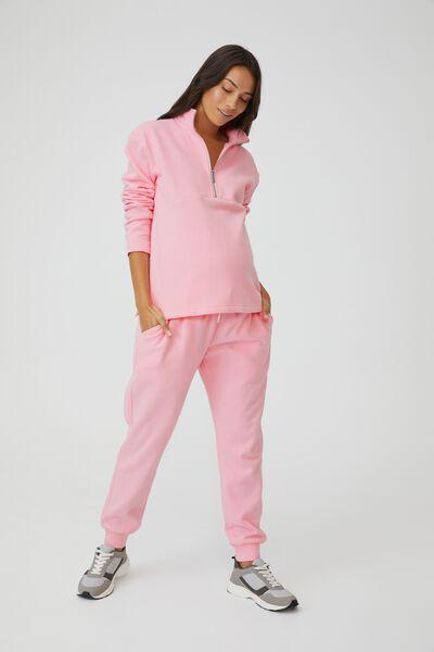 Maternity Zip Front Fleece, PRISM PINK