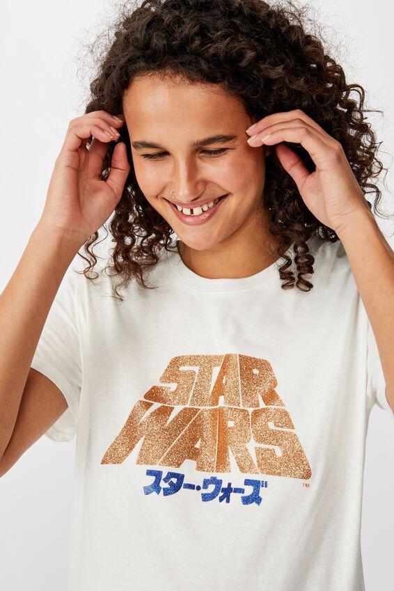 Classic Star Wars T Shirt, LCN LU STAR WARS JAPANESE LOGO/GARDENIA