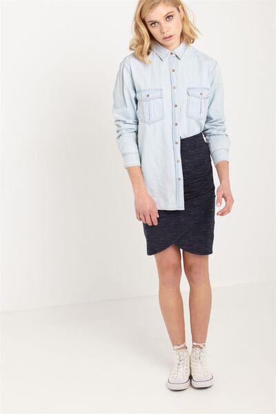 Melinda Wrap Skirt, MOONLIGHT/WHITE SPACEDYE