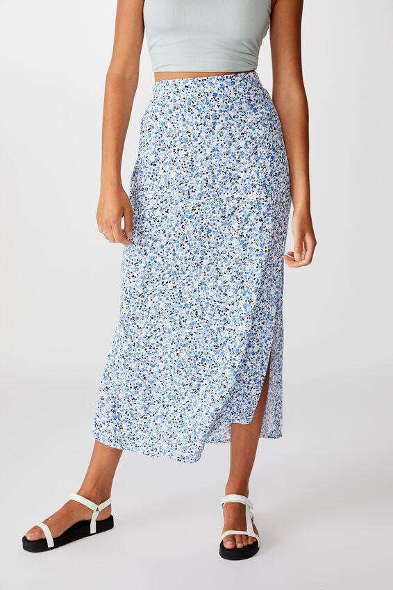 90S Slip Skirt, BRONTE DITSY PARISIAN BLUE