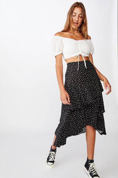 Eve Frill Midi Skirt, DAISY SPOT BLACK