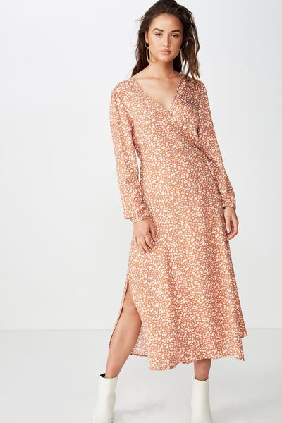 f1503ff44c43 Woven Ivy Sleeved Maxi Dress