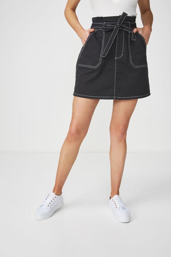 Woven Utility Twill Mini Skirt, BLACK