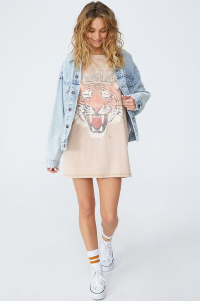 Oversized Graphic T Shirt Dress, FEARLESS TIGER/WARM STONE