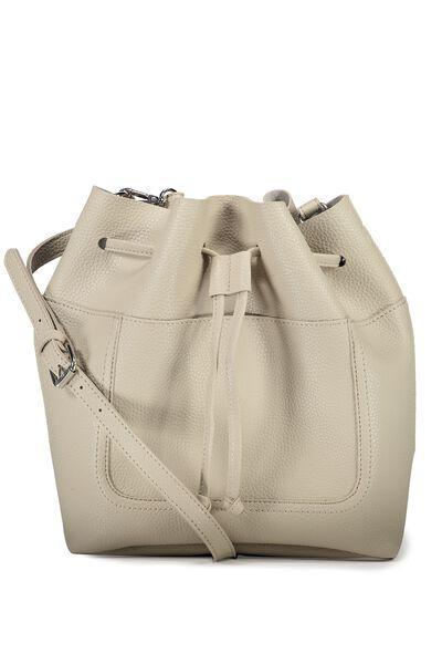 Sandy Bucket Handbag, STONE