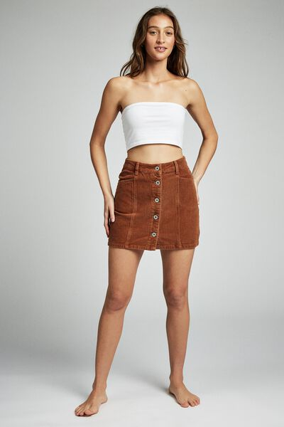 Charlie Cord Mini Skirt, TOBACCO