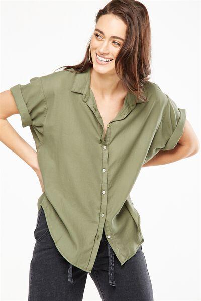 Cassie Short Sleeve Shirt, ARMY GREEN