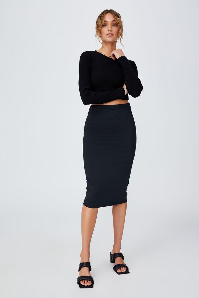 Day To Night Tube Midi Skirt, BLACK